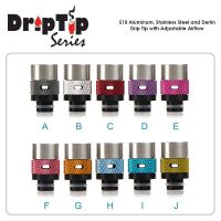 510 Aluminum - Stainless Steel and Derlin Drip Tip with Adjustable Airflow
